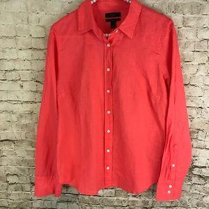J. Crew Women's Coral Size 8 Button Front Shirt